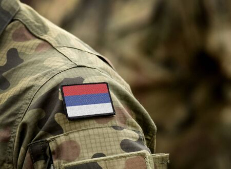 Flag of Republika Srpska on military uniform. Army, armed forces, soldiers. Collage.