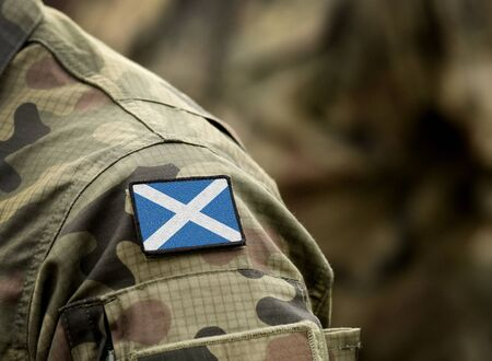 Flag of Scotland on military uniform. Army,  soldiers. Collage.