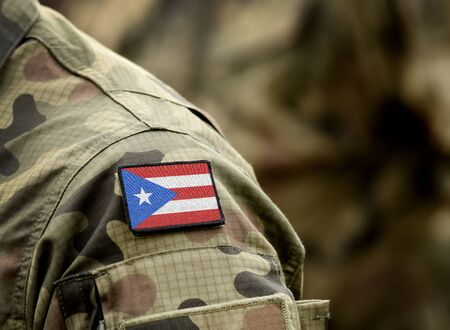 Flag of Puerto Rico on military uniform. Army, armed forces, soldiers. Collage. 스톡 콘텐츠