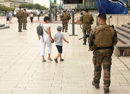 Paris, France - August 29, 2019: Military patrol in the La Defense business district in Paris.