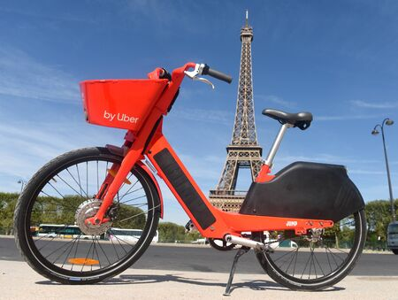 Paris, France - August 30, 2019: The electric bicycle JUMP, (owned by Uber), near the Eiffel Tower in Paris, France.