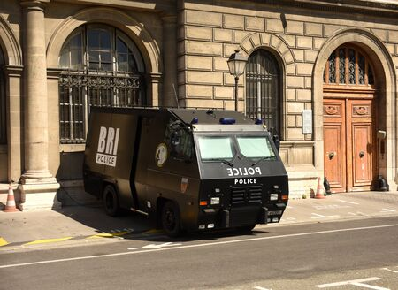 Paris, France - September 1, 2019: The armored vehicles BRI Police in the center of Paris.