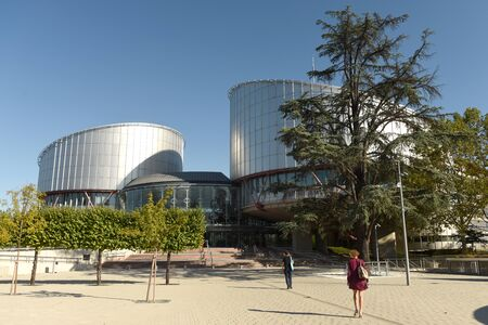 Strasbourg, France - September 4, 2019: People near the European Court of Human Rights (ECHR or ECtHR) building in Strasbourg, France.