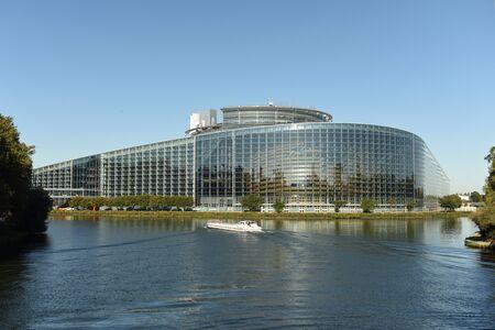 Strasbourg, France - September 4, 2019:The European Parliament building in Strasbourg, France. Редакционное