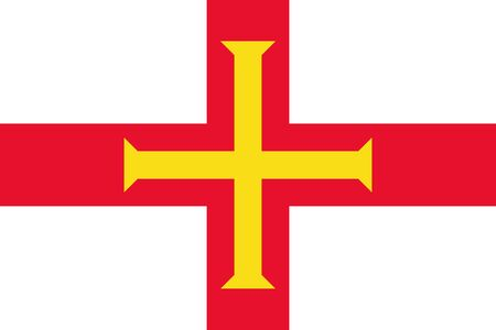 Flag of Guernsey.  Guernsey flag. Jurisdiction of the Bailiwick of Guernsey Фото со стока