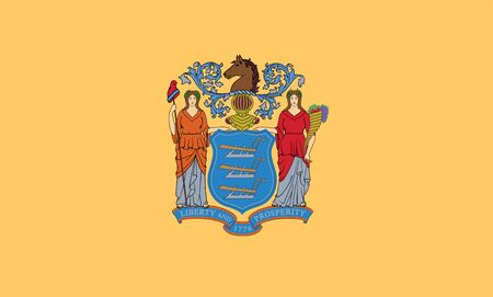 Flag of New Jersey. Coat of arms and flag of New Jersey, USA Фото со стока