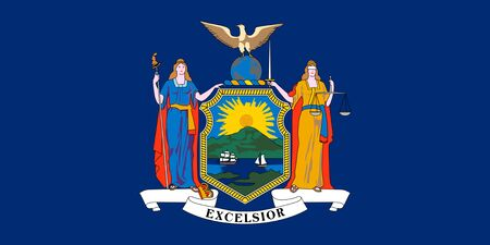 Flag of state of New York, USA. Coat of arms of state New York.