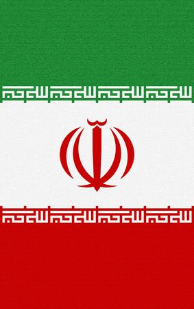 Flag of Iran. Islamic Republic of Iran flag.The Three-Coloured Flag. Iran flag textured.(vertical)