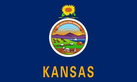 Flag of Kansas. Flag of the State Kansas,     Фото со стока
