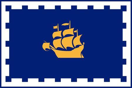 Flag of Quebec City. Flag of Canadian City of Quebec City. Canada