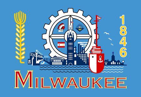 Flag of Milwaukee. Flag of the city of Milwaukee, Wisconsin, USA.