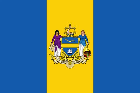 Flag of Philadelphia. Flag of the city of Philadelphia, Pennsylvania, USA. 스톡 콘텐츠