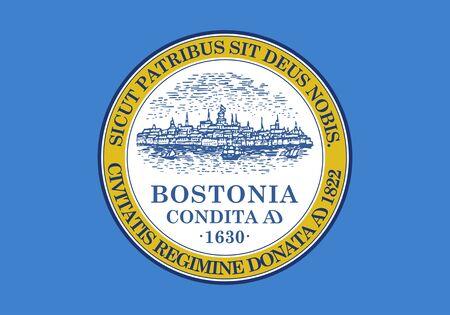 Flag of Boston. Flag of the city of Boston, Massachusetts, USA. 写真素材