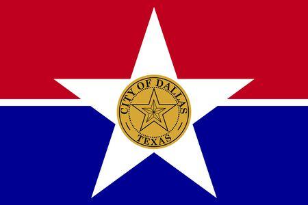 Flag of Dallas, Texas. Flag of the city of Dallas, Texas, USA.