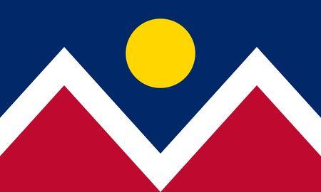 Flag of Denver. Flag of the city of Denver, Colorado, USA. 写真素材