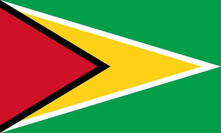 Flag of Guyana known as The Golden Arrowhead. The Co-operative Republic of Guyana.