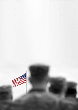 Memorial day. Veterans Day.  American Soldiers Saluting. US Army. Military of USA . empty space for text Stock fotó