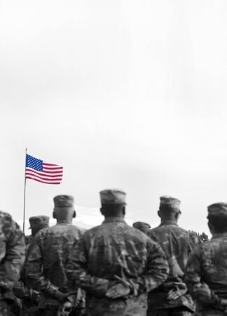 Memorial day. Veterans Day. American Soldiers Saluting. US Army. Military of USA. empty space for text Stock Photo