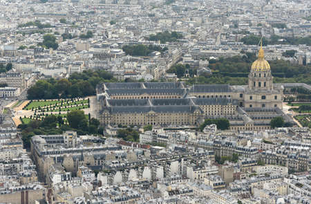 Paris, France - August 30, 2019: View from Eiffel Tower on Les Invalides, the National Residence of the Invalids in Paris.