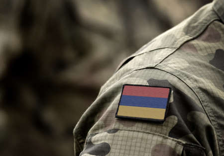 Flag of Armenia on military uniform. Army, armed forces, soldiers. Collage.