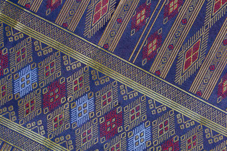 Thai Silk handicraft pattern close up ,Thailand textile style 免版税图像