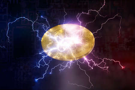 Bitcoin or Altcoin digital crypto currency lightning network change concept. and soft fork Stock fotó