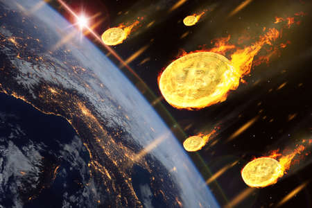 The price of bitcoin or crypt to currency coins are falling like entering the Earth atmosphere.