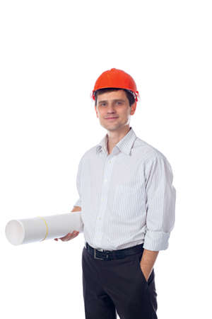 man in shirt, orange construction helmet with a roll of paper photo
