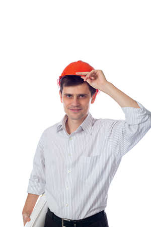 man in shirt orange construction helmet with a roll of paper photo