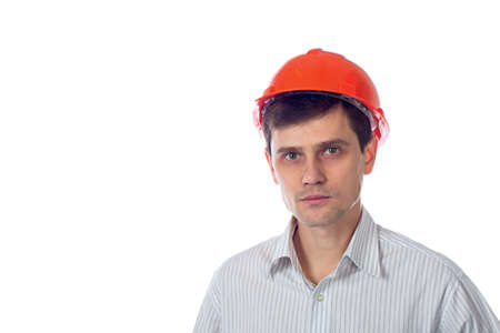 smiling man in a shirt orange construction helmet isolate photo