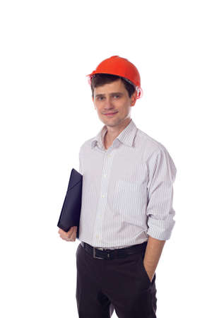 man in shirt orange construction helmet with black folder photo