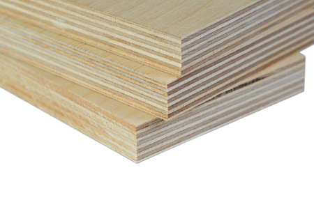 The Macro isolate three light plywood boards stacked Stok Fotoğraf