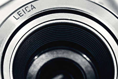 Nizhny Novgorod, Russia - September 21, 2017: Optical lens Leica, macro, black and white