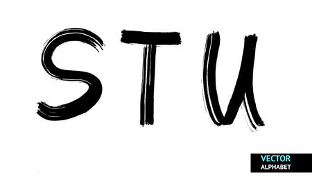 Vector brush line alphabet. Hand drawn alphabet Vector
