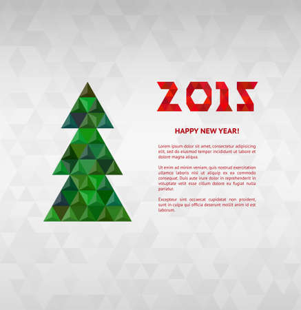 Christmas tree with colorful diamond, vector illustration. Vector