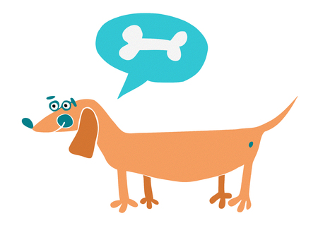 Cartoon dog with text cloud and bone. Hand drawn vector illustration Vector