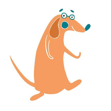 tanzen cartoon: Tanzen Cartoon dog.Hand erstellt Vektor-Illustration Illustration