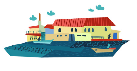 littoral: Bright Summer Sea Town and Boats. Vector Illustration Illustration