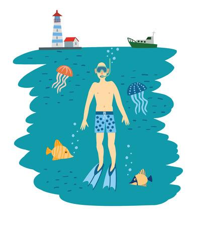 blubber: Diving Boy. Under Water. Vector Illustration Illustration