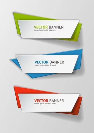 decoration template: Vector infographic origami banners set.