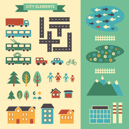 Town infographic elements. Illustration