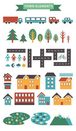 町のインフォ グラフィック要素。ベクター都市要素の市内マップを作成します。あなた自身の町を作成する !あなたのパターンや web サイトのデザインの他のタイプの要素をマップします。ベクトル イラスト