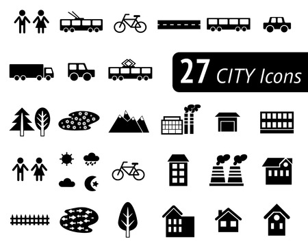 Different monochromatic flat city elements for creating your own map. Easy to edit and recolor - vector object are separated in layers. Map elements for your pattern, web site or other type of design. Ilustração