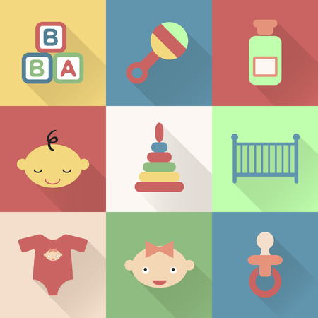 car clothes: Colorful flat baby icons with shades. Vector infographic