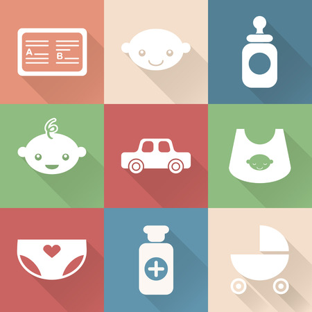 car clothes: Monochromatic flat baby icons with shades. Vector infographic Illustration