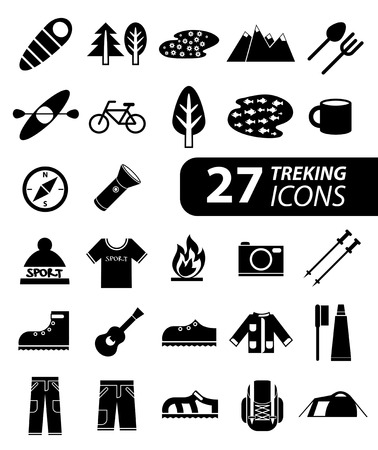 monochromatic: Set of flat monochromatic hiking, trekking and camping icons. Outdoor activity symbols drawn in vector