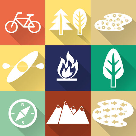 Set of flat monochromatic hiking, trekking and camping icons. Outdoor activity symbols drawn in vector Vector