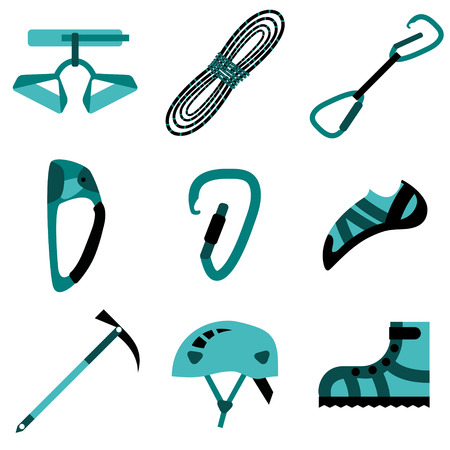 Climbing, hiking, trekking, camping, speleology and ice climbing equipment vector set. Vector flat icons Vector