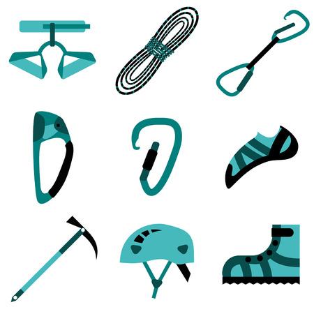 ice climbing: Climbing, hiking, trekking, camping, speleology and ice climbing equipment vector set. Vector flat icons Illustration