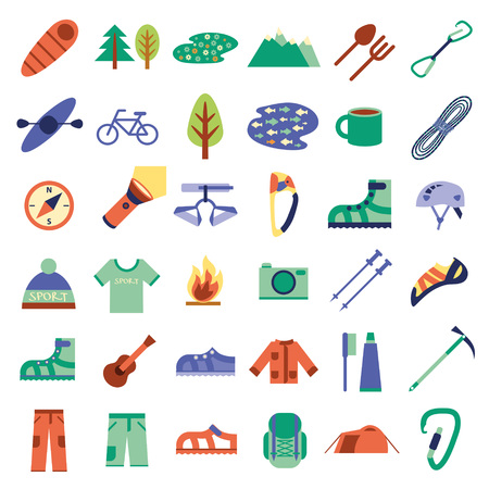 ice climbing: Climbing, hiking, trekking, camping, speleology and ice climbing equipment vector set. Vector flat icons Illustration